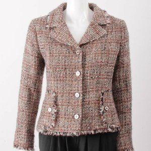 CHANEL  Pink Blk Beige Gold Metallic Tweed Jacket